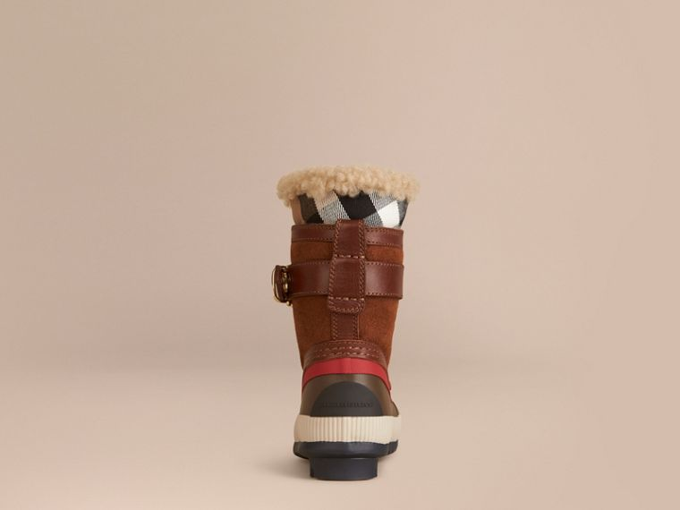 House check/khaki House Check and Suede Trim Shearling Boots - cell image 1