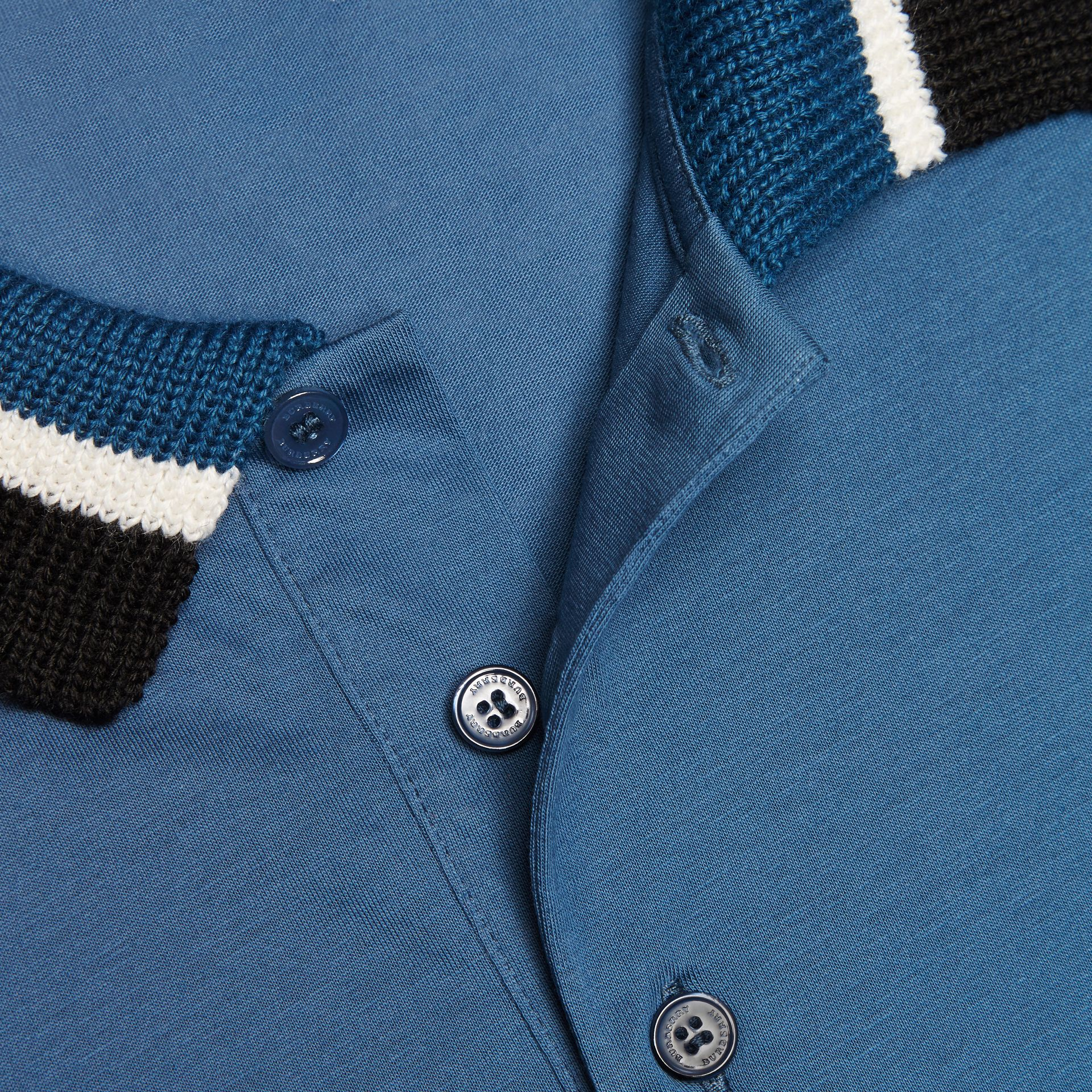 Mineral blue Cotton Polo Shirt with Knitted Collar Mineral Blue - gallery image 2