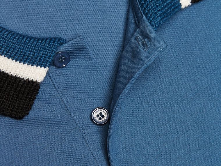 Mineral blue Cotton Polo Shirt with Knitted Collar Mineral Blue - cell image 1