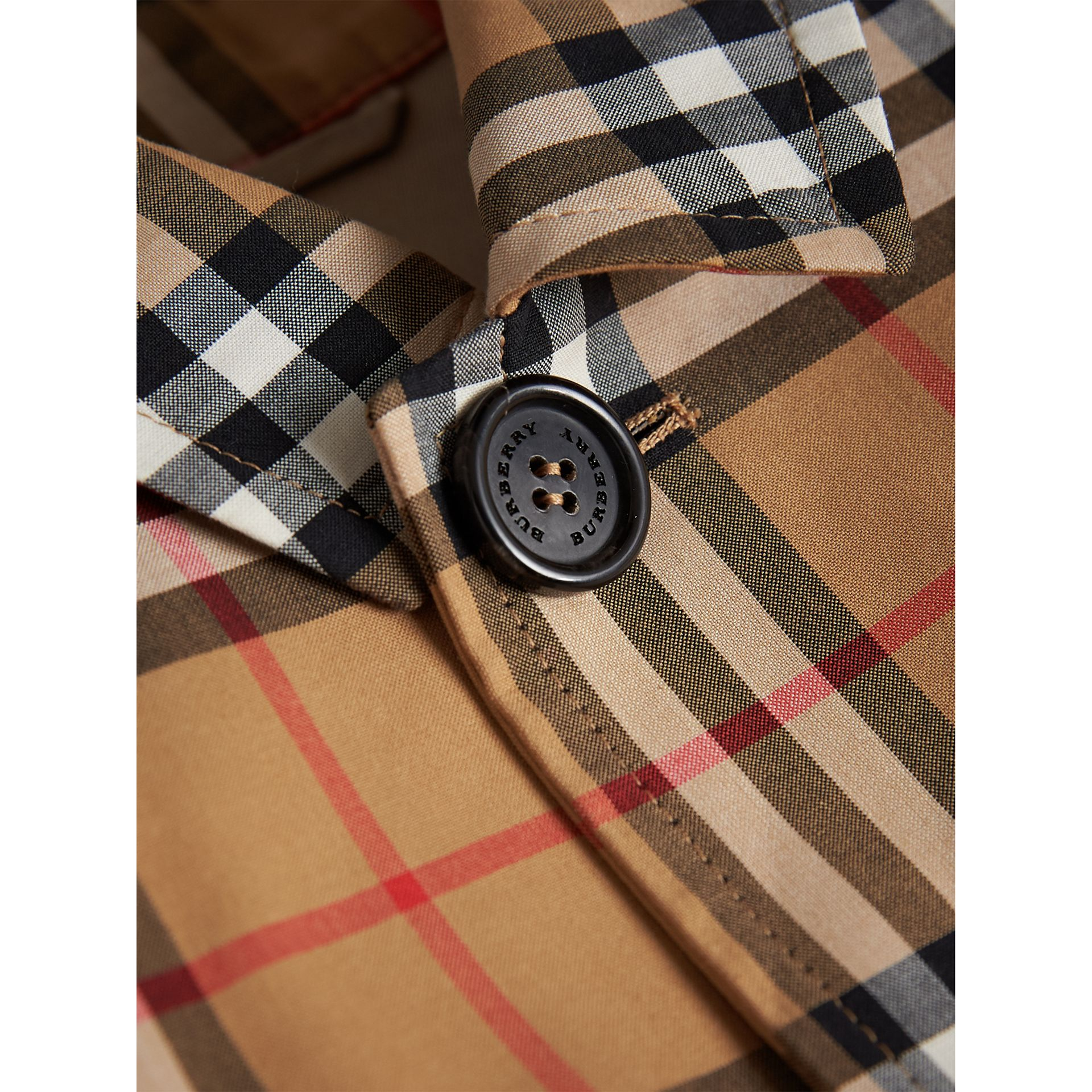 Vintage Check Cotton Car Coat in Antique Yellow - Boy | Burberry - gallery image 1