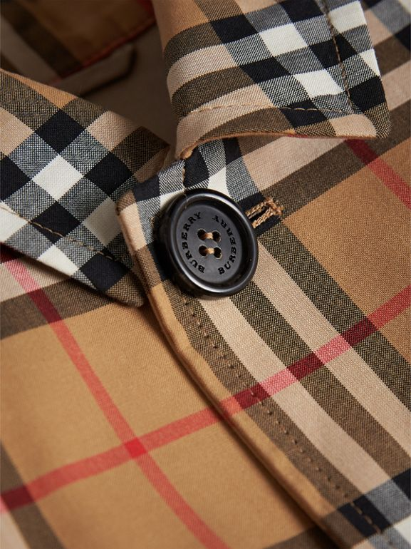 Vintage Check Cotton Car Coat in Antique Yellow - Boy | Burberry - cell image 1