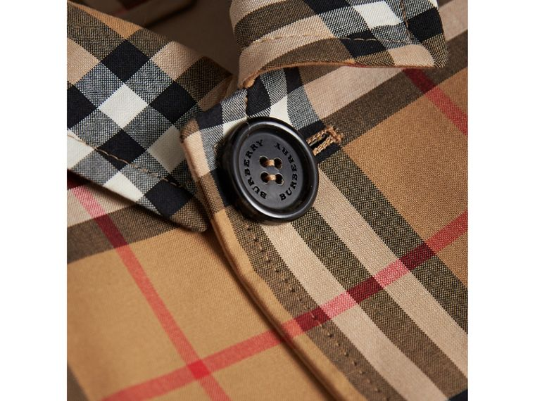 Vintage Check Cotton Car Coat in Antique Yellow | Burberry - cell image 1