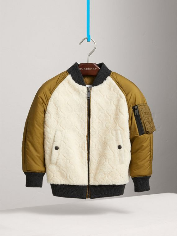 Contrast Sleeve Lamb Shearling Bomber Jacket in Natural White