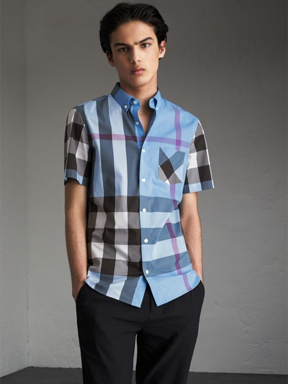 Short-sleeve Check Stretch Cotton Blend Shirt Cyan Blue
