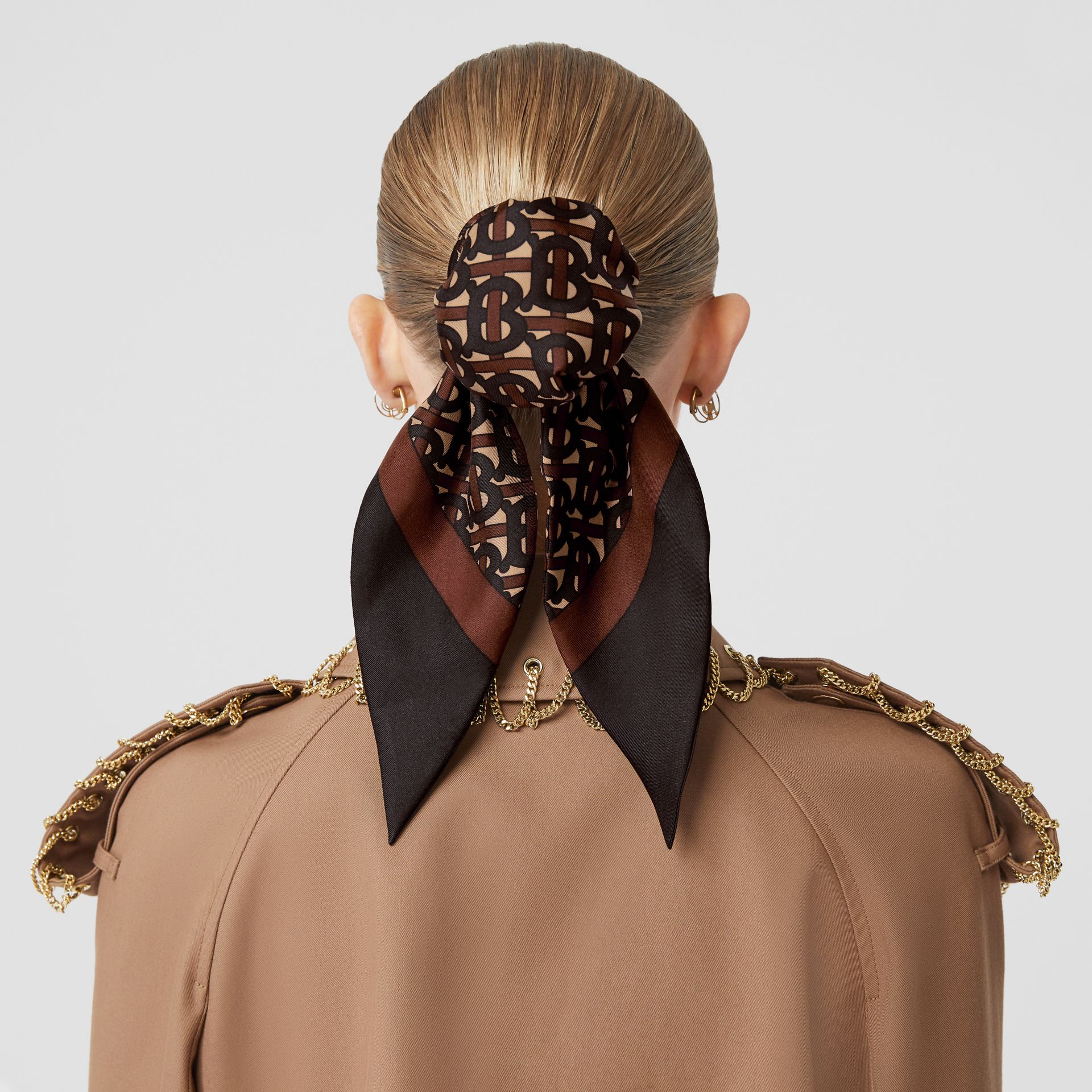 Monogram Print Silk Hair Scarf in Deep Brown - Women | Burberry Singapore - gallery image 2