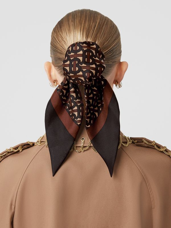 Monogram Print Silk Hair Scarf in Deep Brown - Women | Burberry - cell image 2
