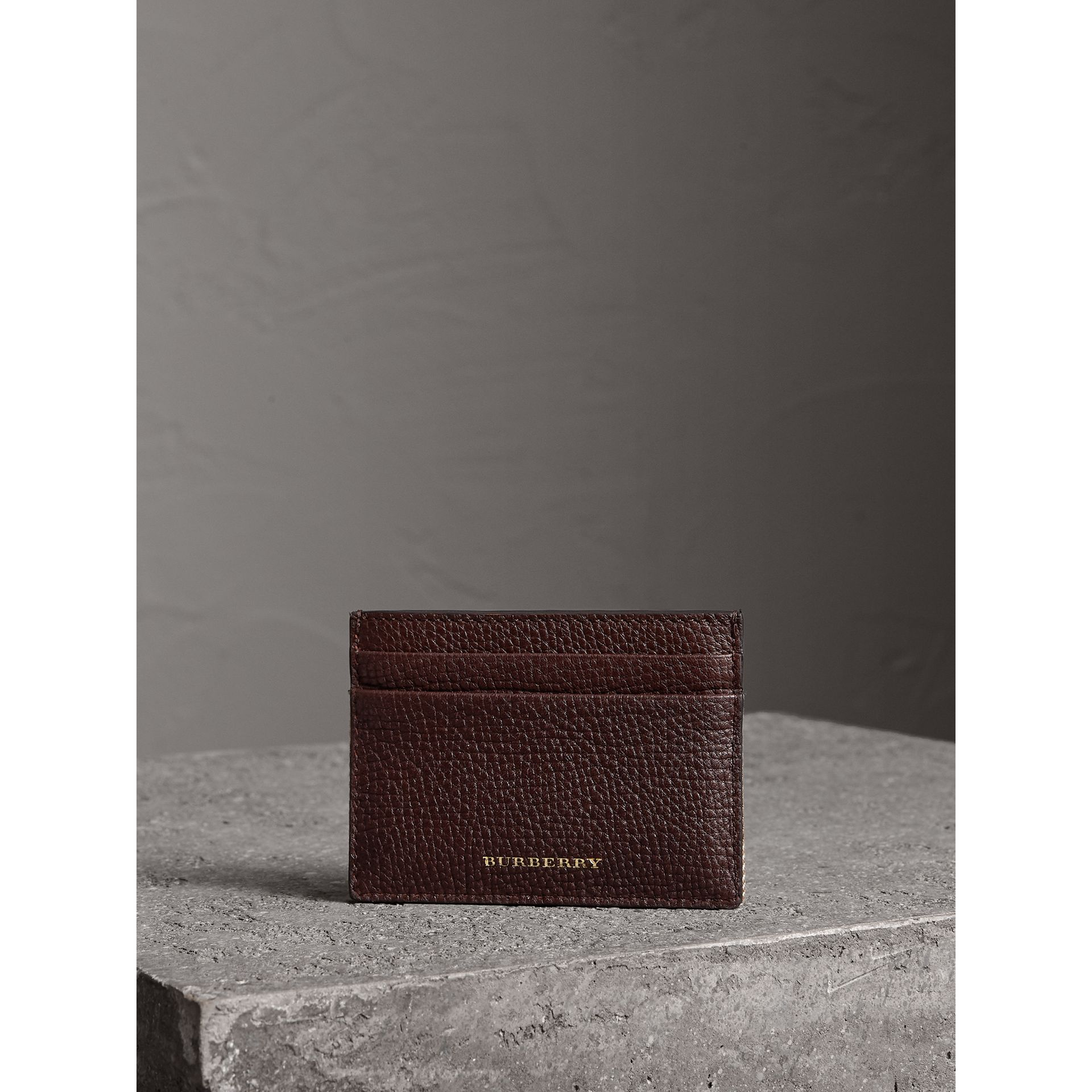 House Check and Grainy Leather Card Case in Wine | Burberry - gallery image 2