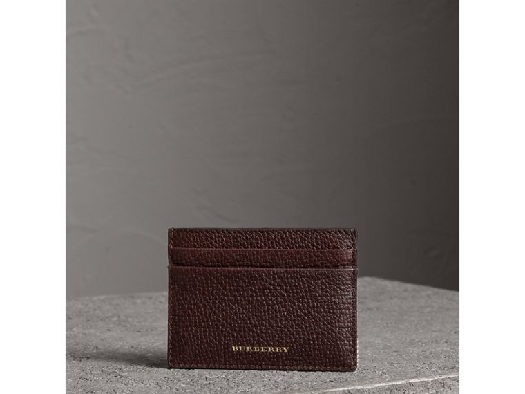 House Check and Grainy Leather Card Case in Wine | Burberry - cell image 1
