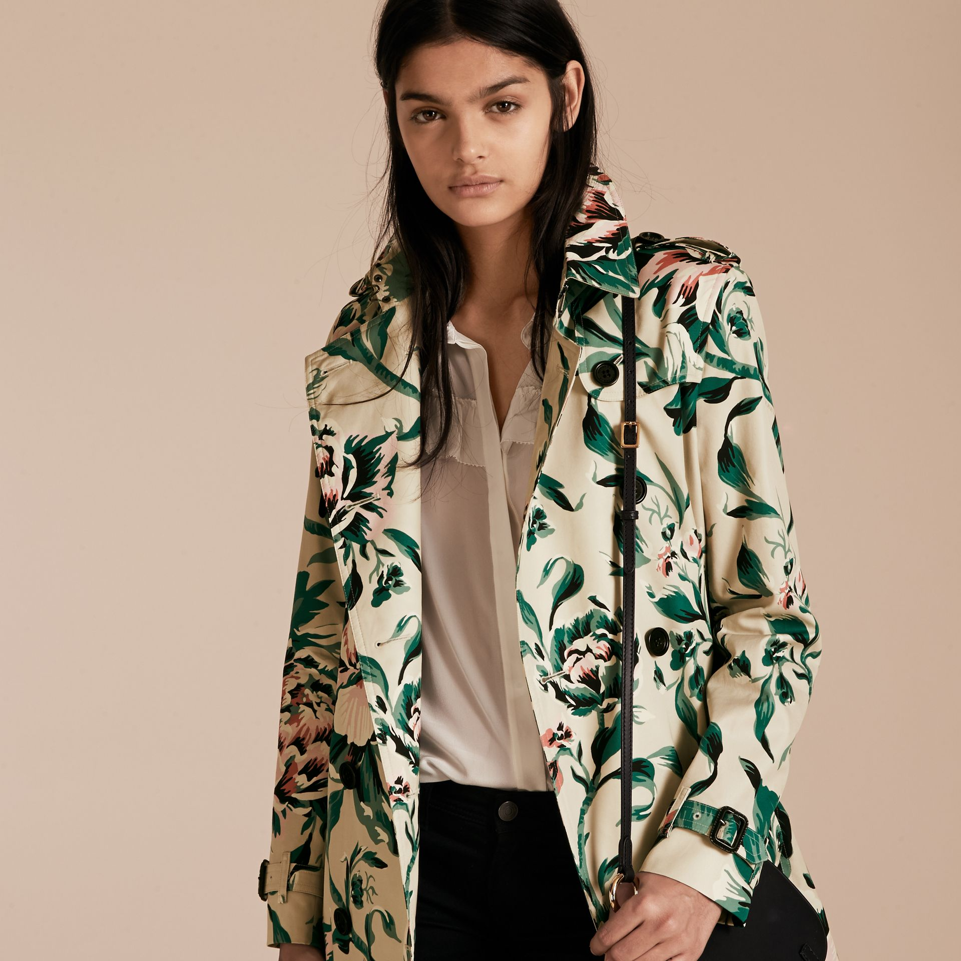 Peony Rose Print Cotton Trench Coat - Women | Burberry - gallery image 7