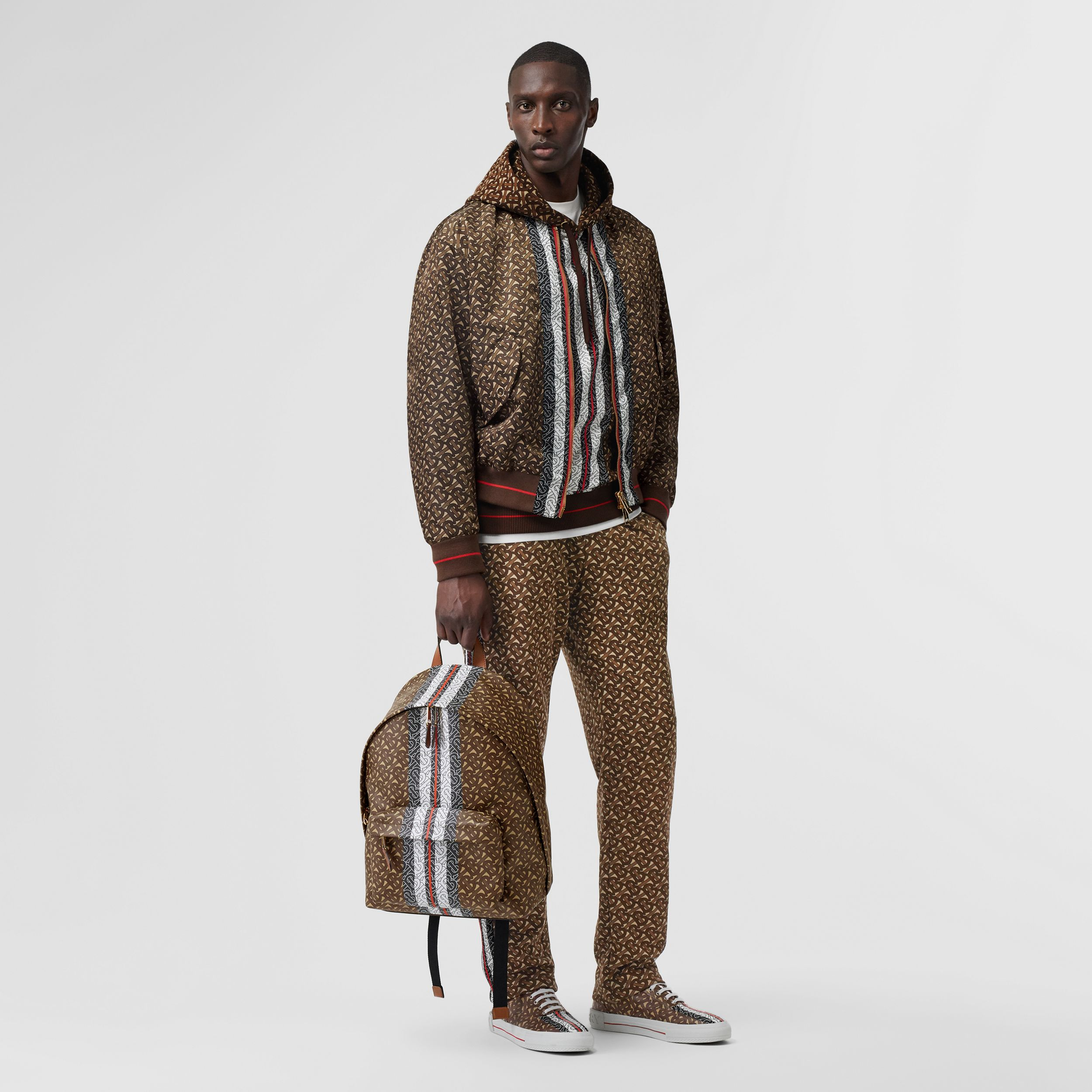 Monogram Stripe Print Nylon Bomber Jacket in Bridle Brown - Men | Burberry - 1