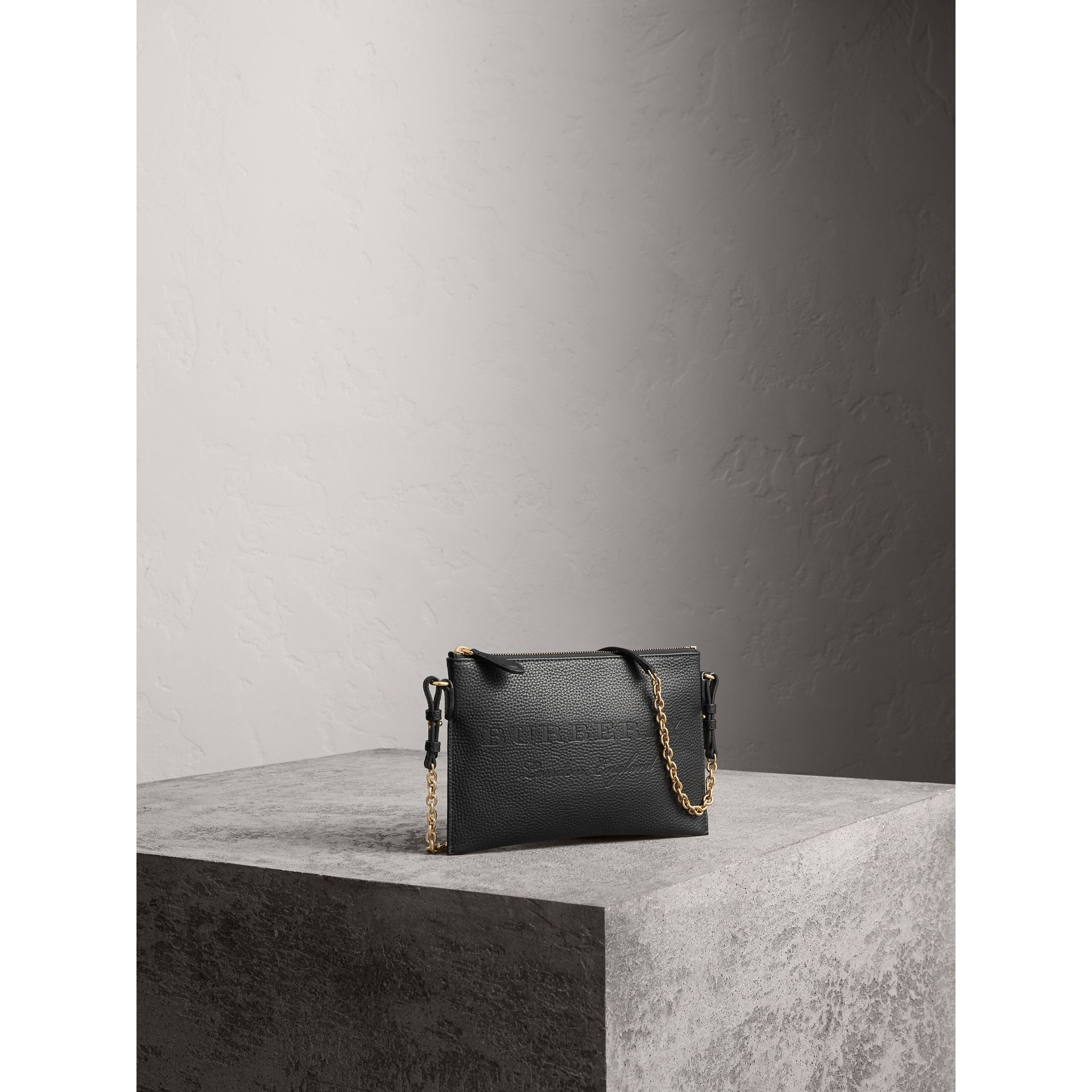 Embossed Leather Clutch Bag in Black - Women | Burberry - gallery image 6
