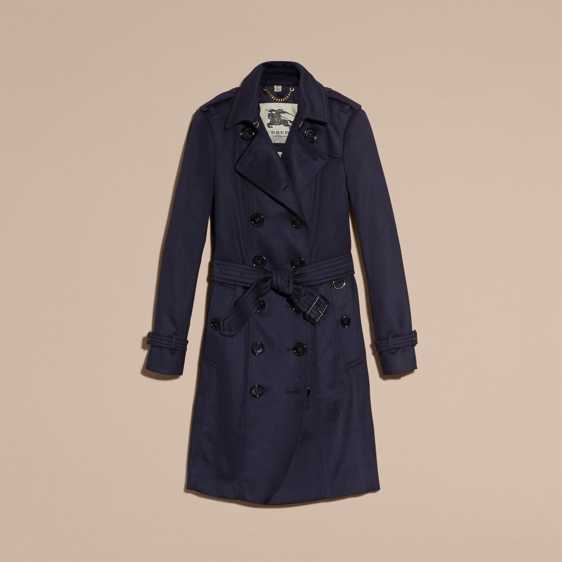 Indigo Sandringham Fit Cashmere Trench Coat Indigo - gallery image 4