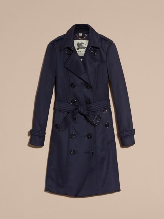 Indigo Sandringham Fit Cashmere Trench Coat Indigo - cell image 3