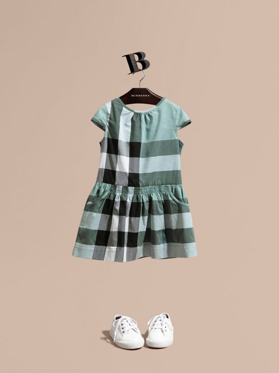 Cap-sleeved Check Cotton Voile Dress Pale Celadon