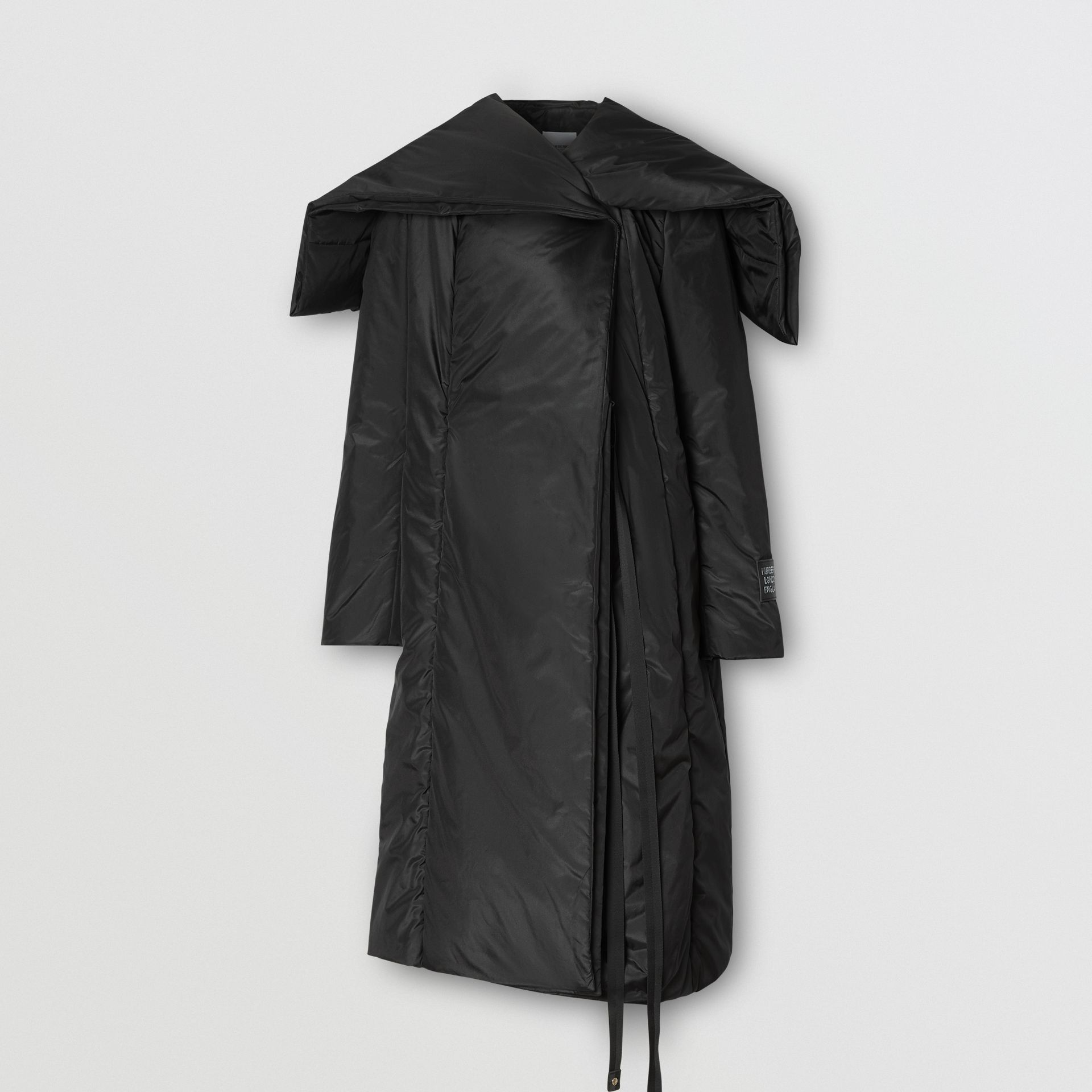 Cape Detail Silk Blend Wrap Coat in Black - Women | Burberry - gallery image 3