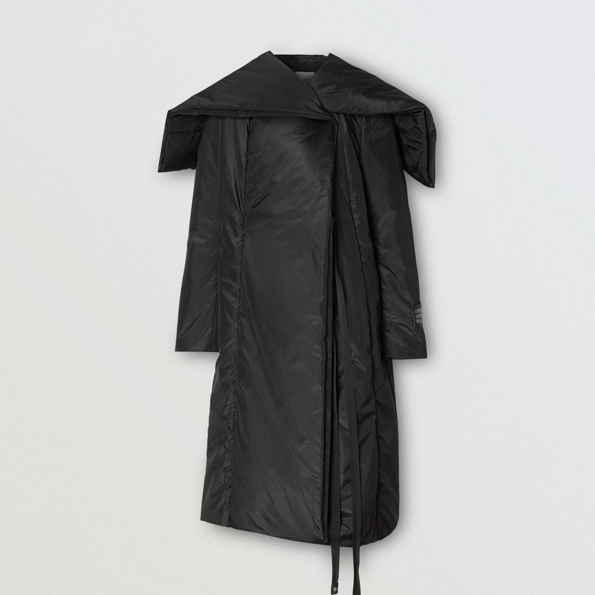 Cape Detail Silk Blend Wrap Coat in Black - Women | Burberry Singapore - gallery image 3