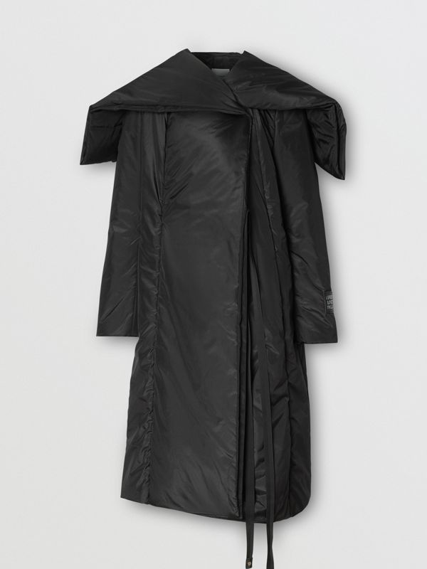 Cape Detail Silk Blend Wrap Coat in Black - Women | Burberry - cell image 3