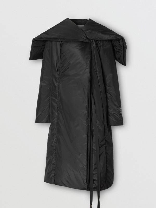 Cape Detail Silk Blend Wrap Coat in Black - Women | Burberry Singapore - cell image 3