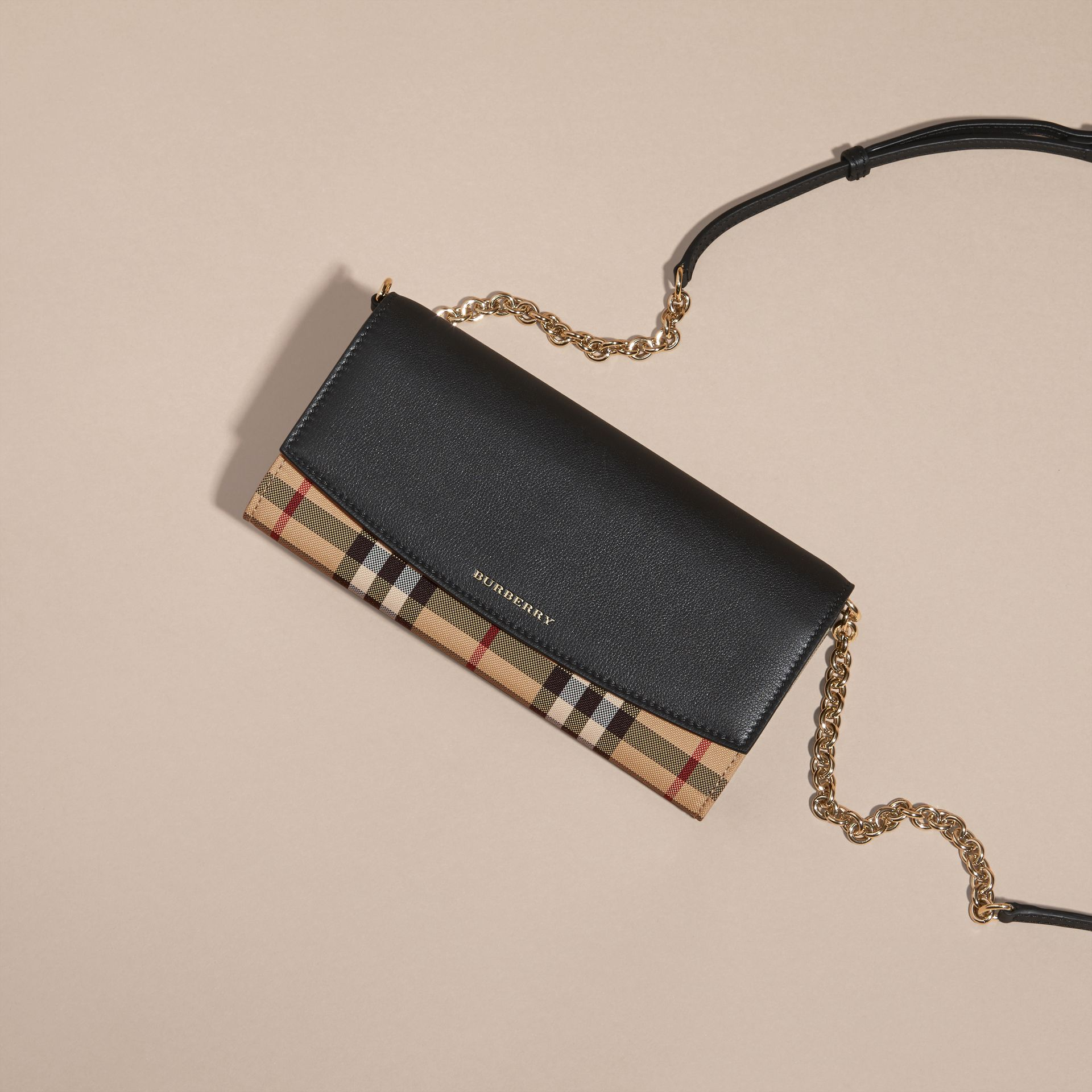 Horseferry Check and Leather Wallet with Chain in Black - Women | Burberry - gallery image 6