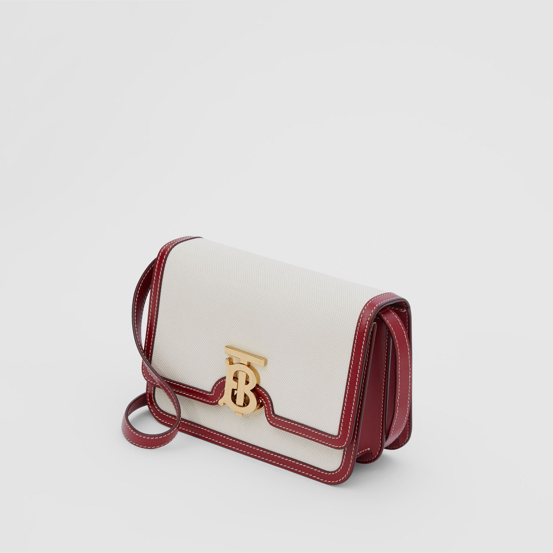 Small Two-tone Canvas and Leather TB Bag in Natural/dark Carmine - Women | Burberry Hong Kong S.A.R - gallery image 2