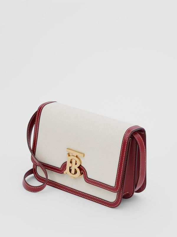Small Two-tone Canvas and Leather TB Bag in Natural/dark Carmine - Women | Burberry Hong Kong S.A.R - cell image 2