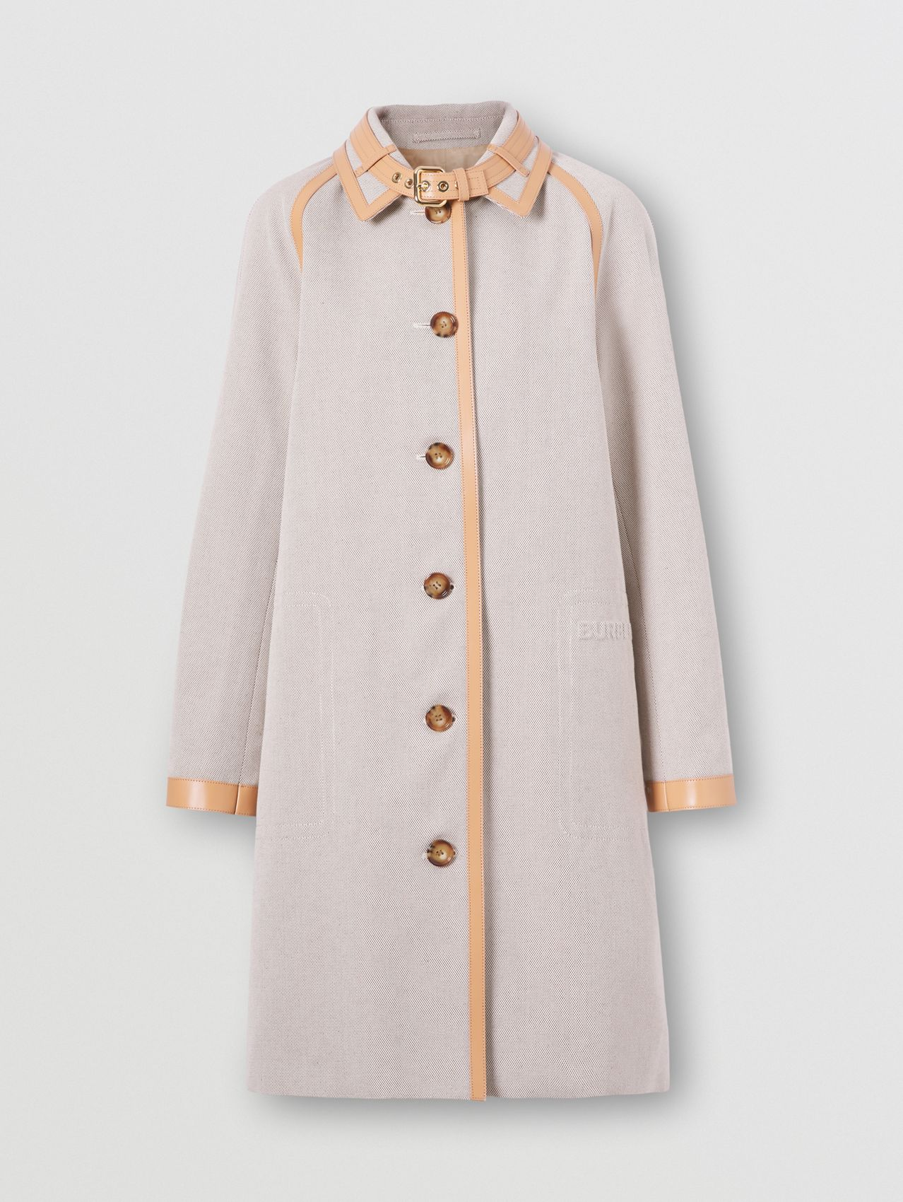 Leather Trim Cotton Canvas Car Coat in Soft Fawn Melange