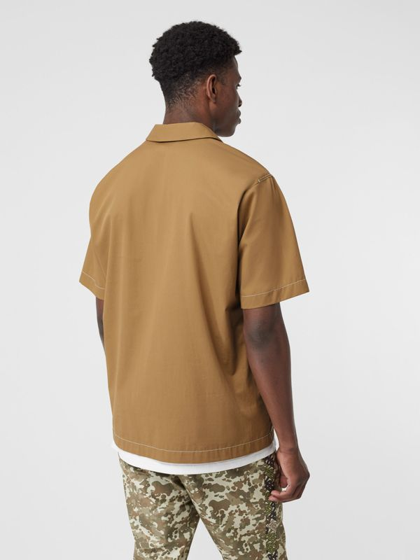Short-sleeve Military Cotton Shirt in Dark Honey - Men | Burberry United Kingdom - cell image 2
