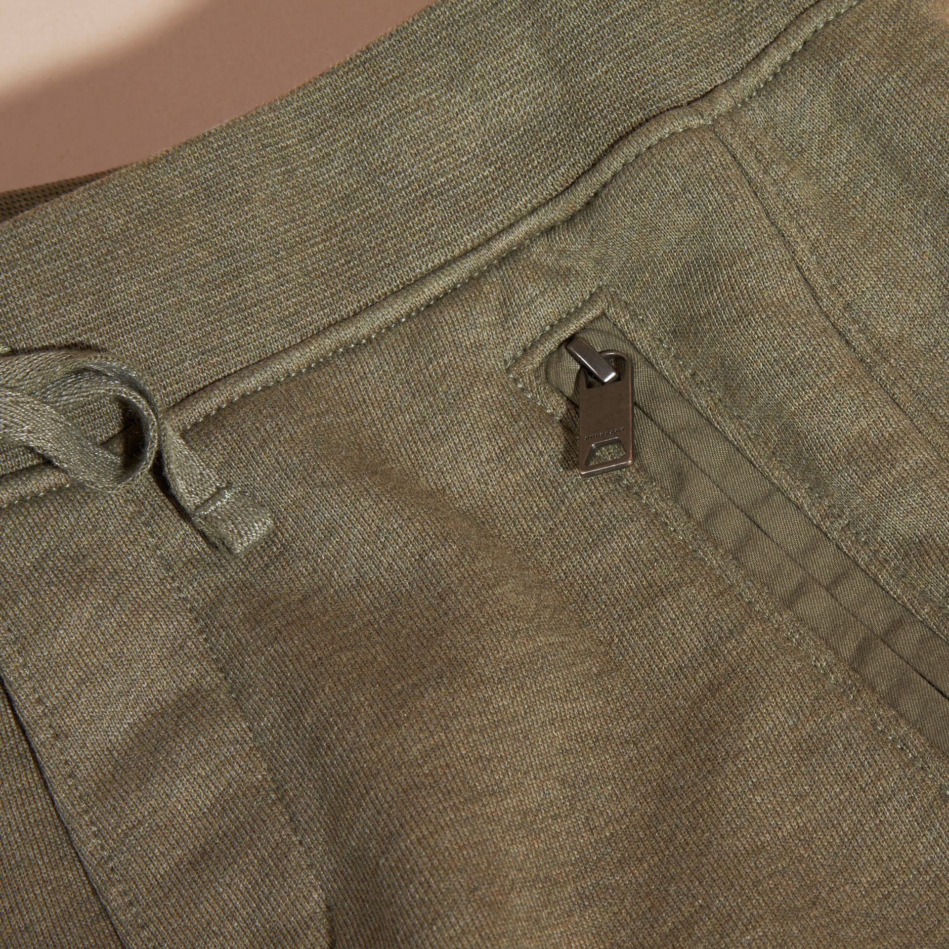 Cotton Jersey Drawcord Shorts in Khaki Green Melange - Boy | Burberry - gallery image 2