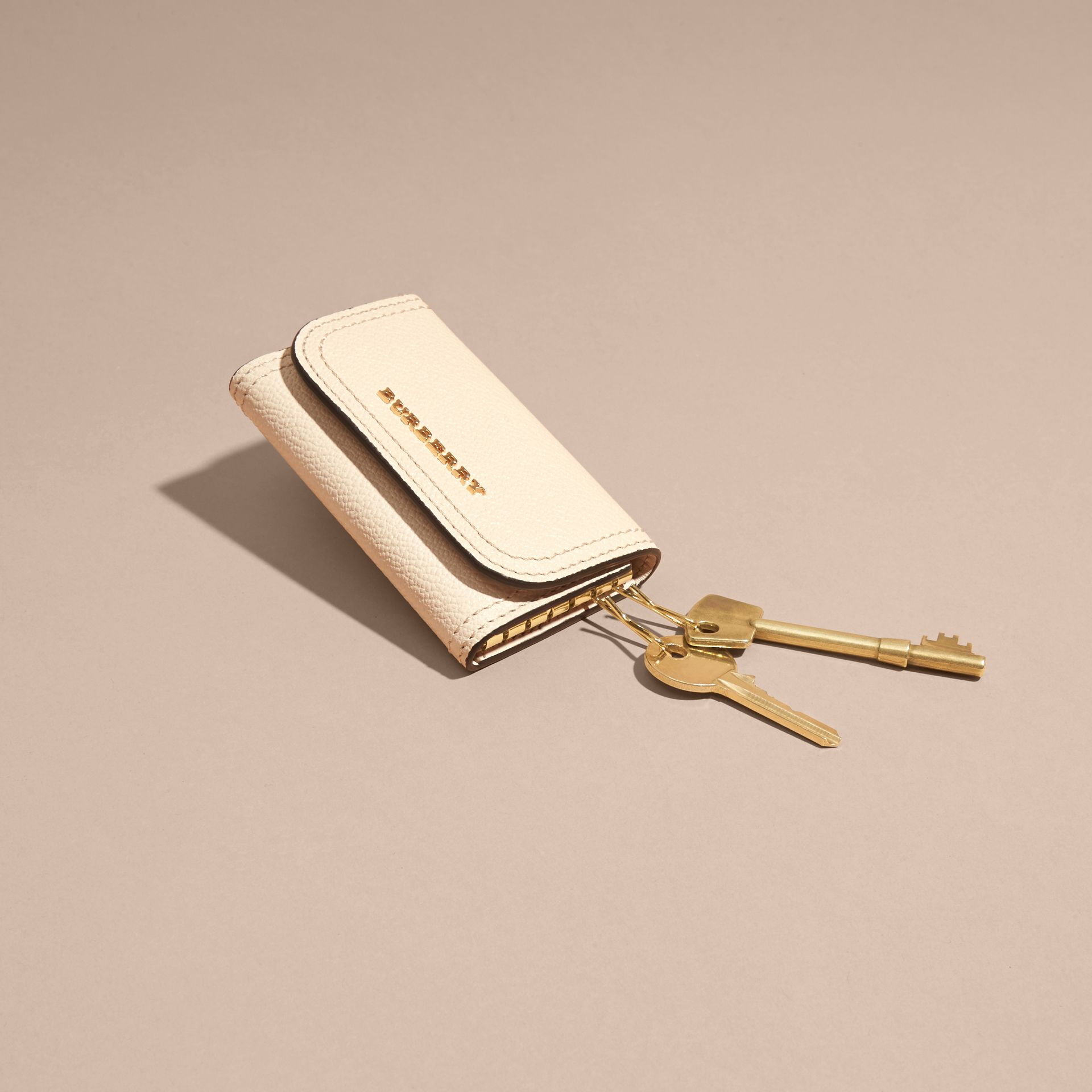 Grainy Leather Key Holder in Limestone - Women | Burberry - gallery image 3