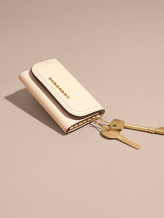 Grainy Leather Key Holder in Limestone - Women | Burberry - cell image 2