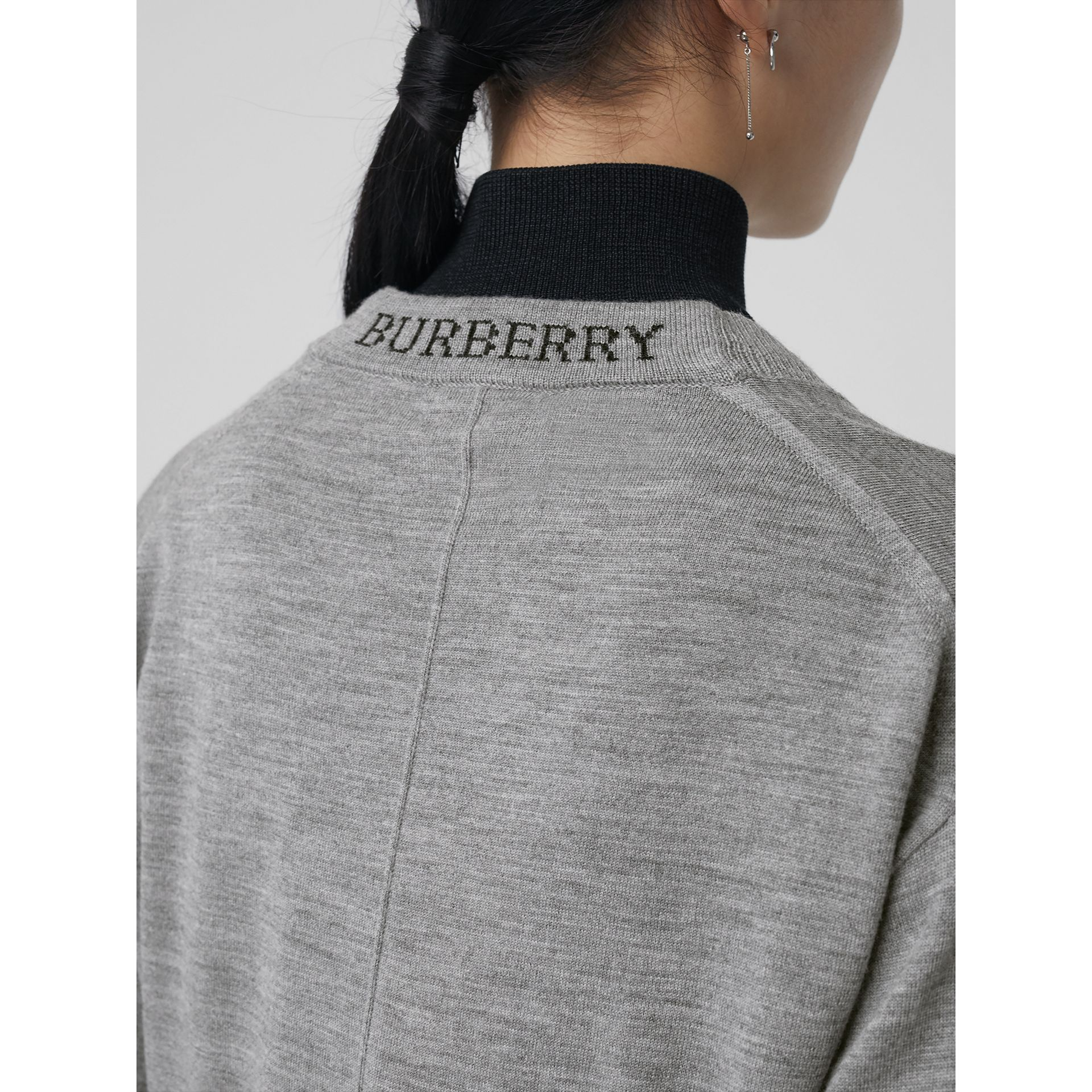 Logo Intarsia Merino Wool Cardigan in Grey Melange - Women | Burberry United Kingdom - gallery image 1