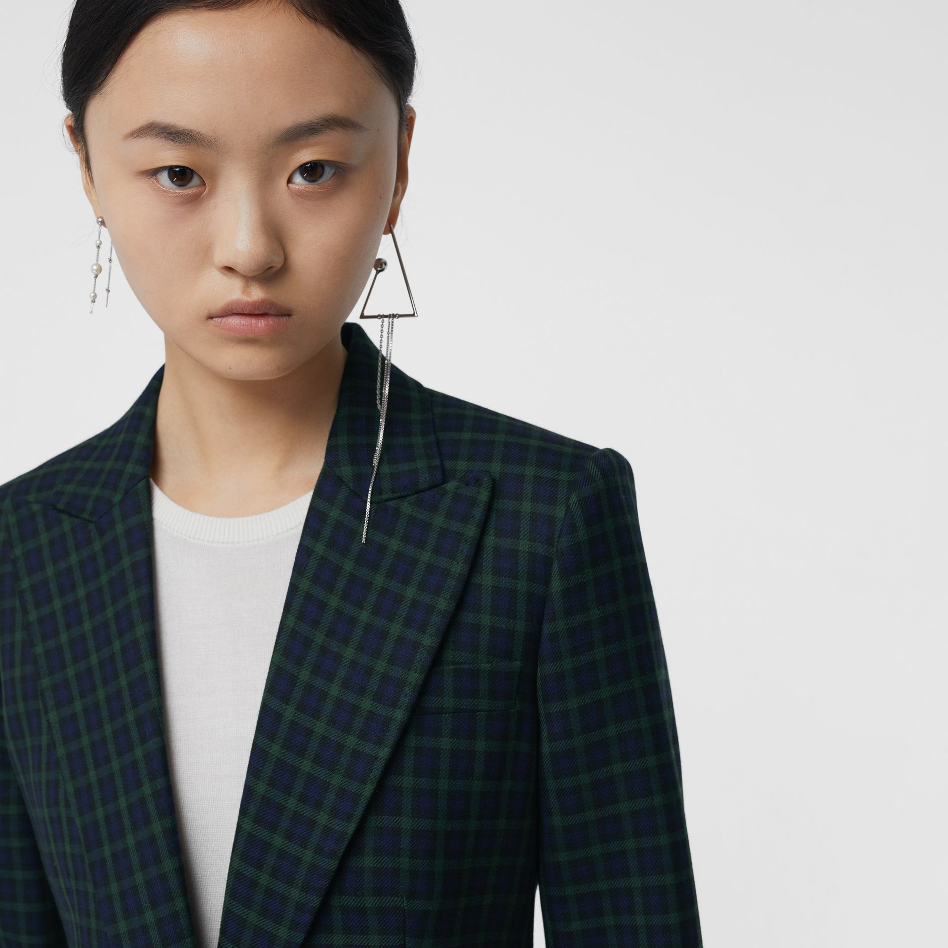 Check Stretch Wool Blazer in Navy - Women | Burberry United Kingdom - gallery image 4