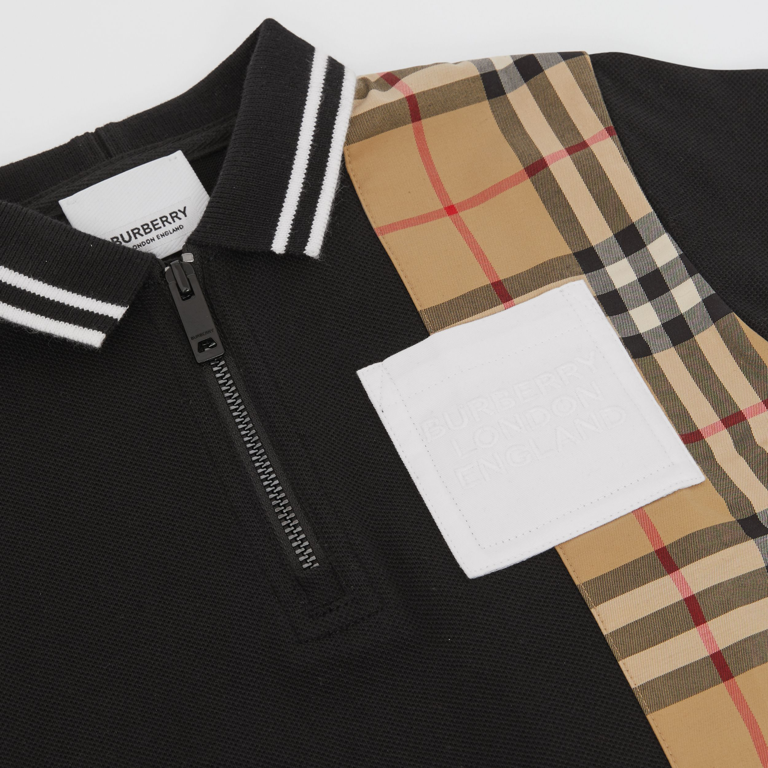 Vintage Check Panel Cotton Zip-front Polo Shirt in Black - Children | Burberry - 2