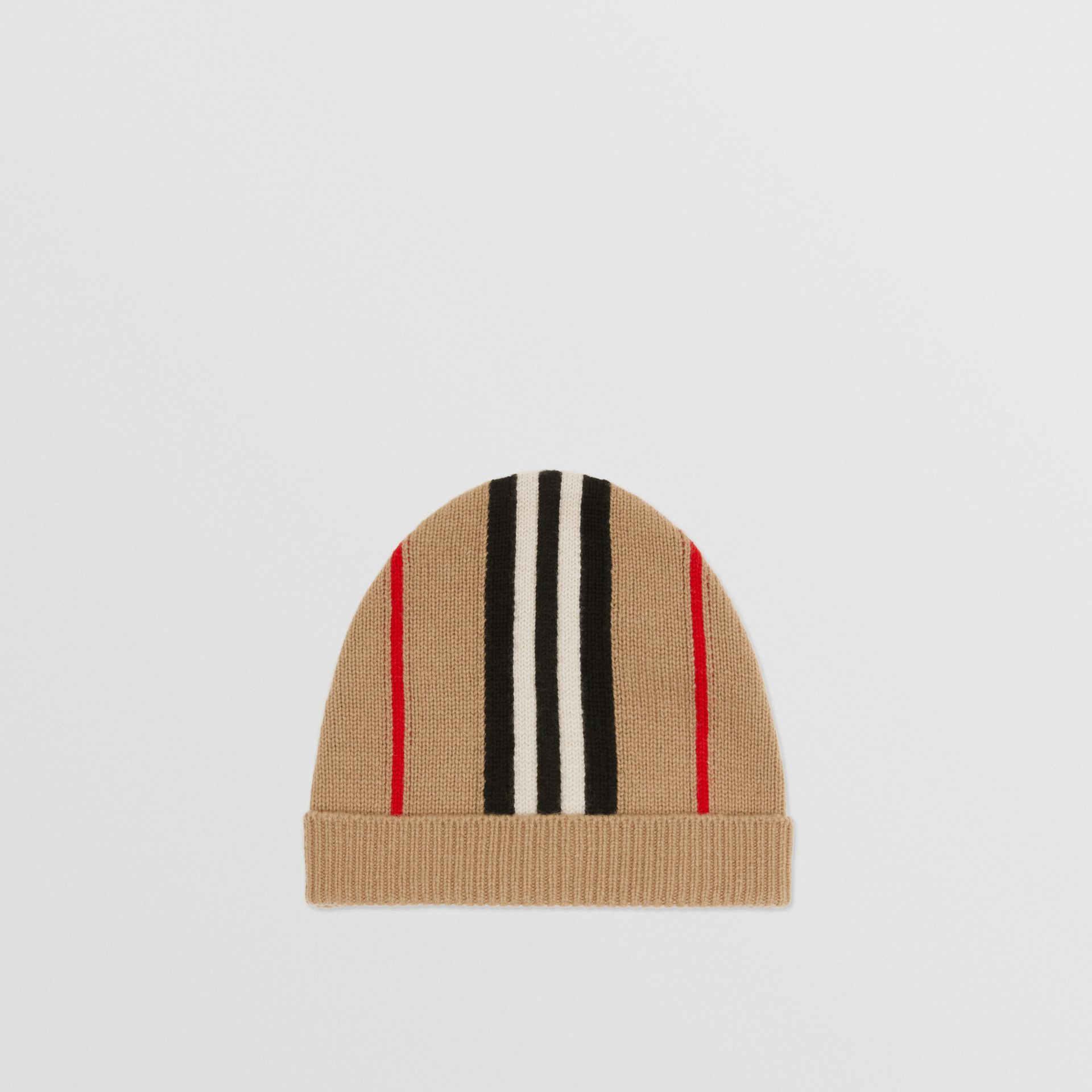 Icon Stripe Cashmere Wool Beanie in Archive Beige - Children | Burberry United Kingdom - gallery image 2