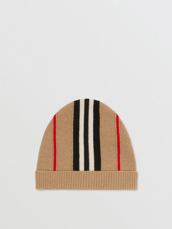 Icon Stripe Cashmere Wool Beanie in Archive Beige - Children | Burberry United Kingdom - cell image 2