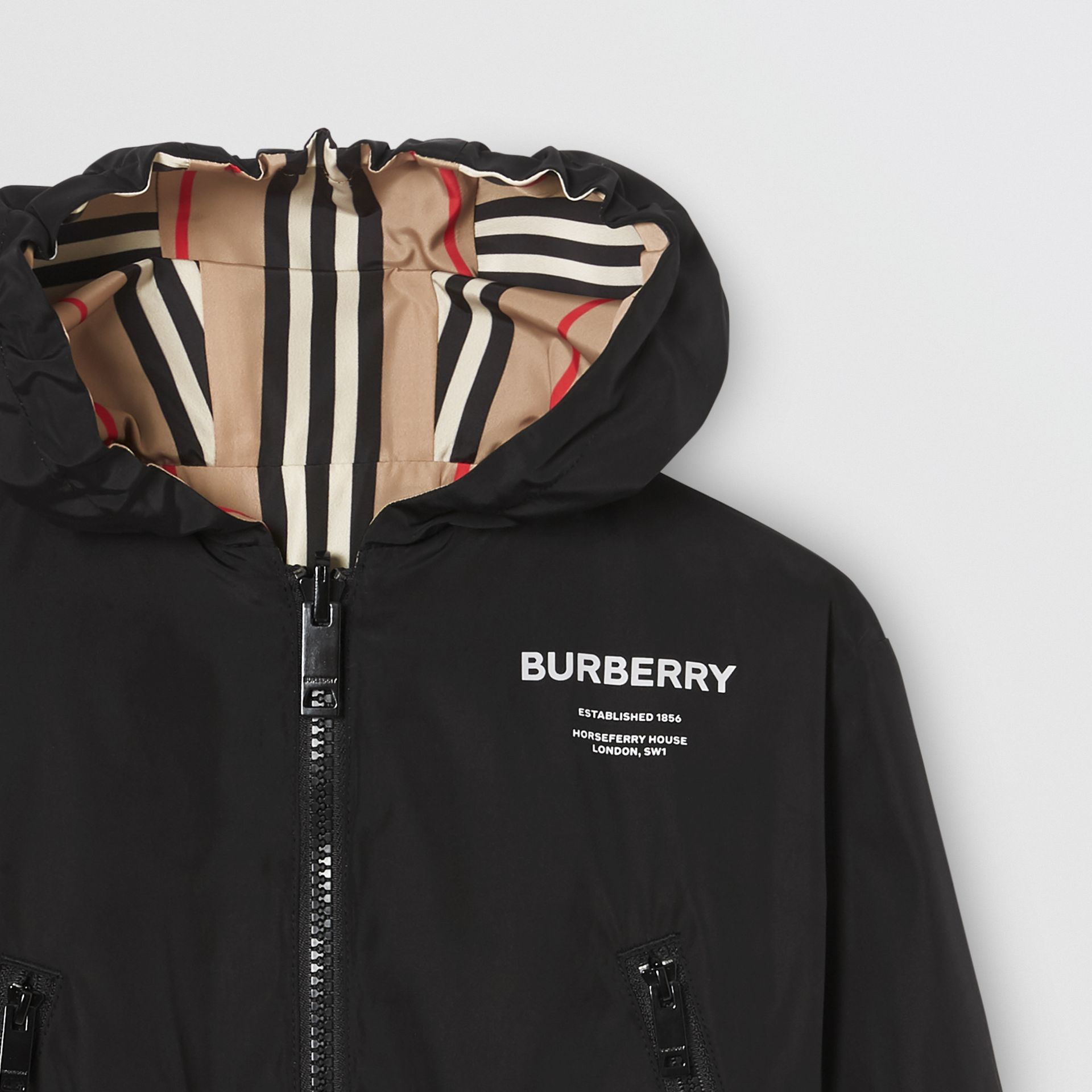 Reversible Icon Stripe Hooded Jacket in Black - Children | Burberry - gallery image 6