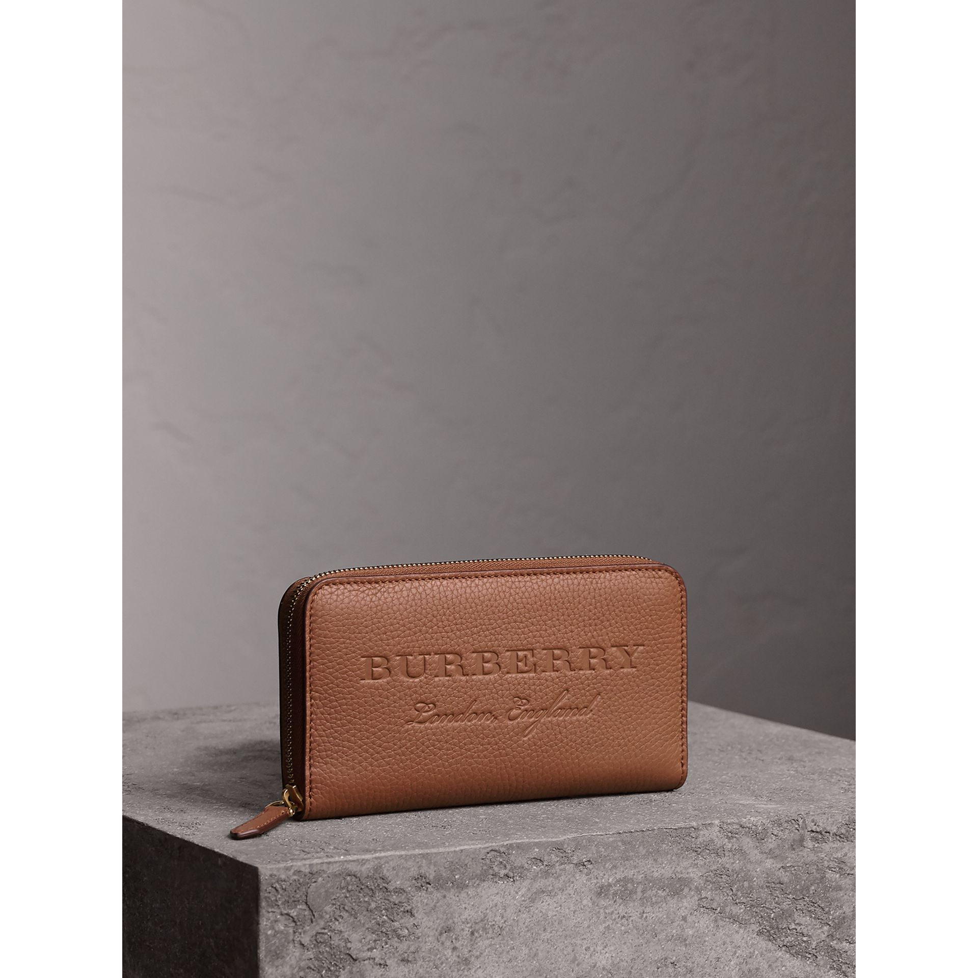 Embossed Leather Ziparound Wallet in Chestnut Brown - Women | Burberry United Kingdom - gallery image 0