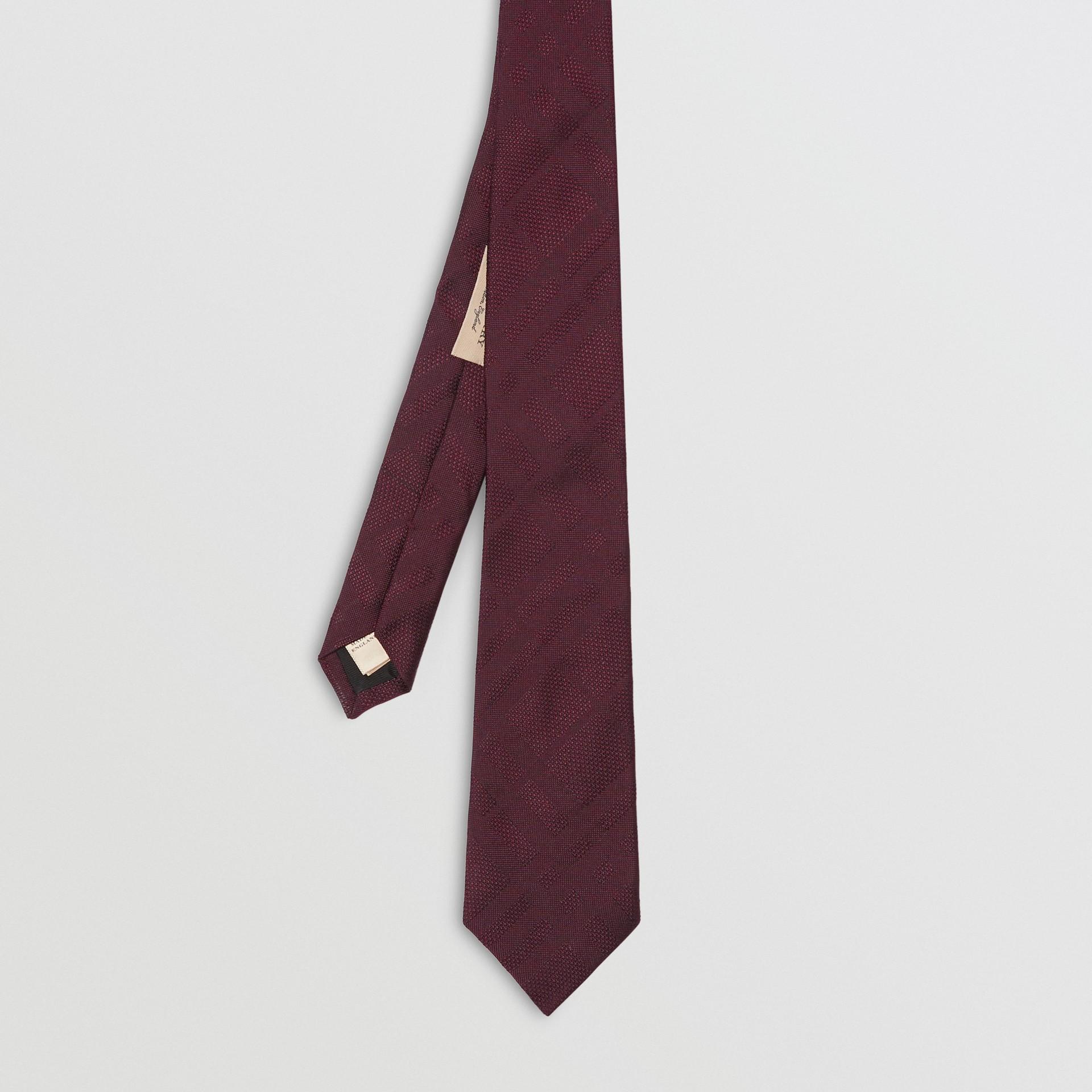 Modern Cut Check Silk Tie in Deep Claret - Men | Burberry - gallery image 3