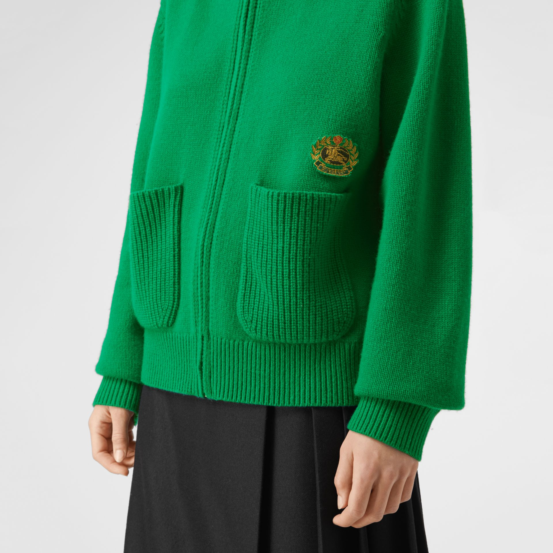 Embroidered Crest Cashmere Hooded Top in Vibrant Green - Women | Burberry Australia - gallery image 1