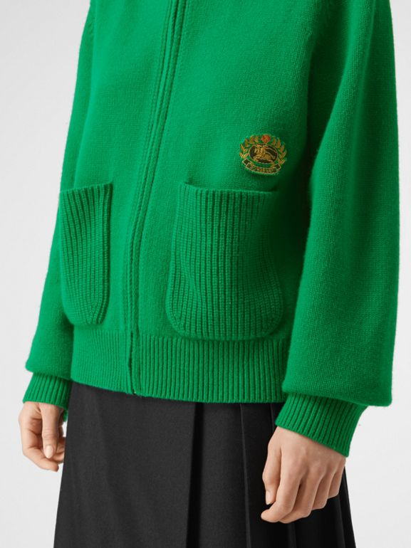 Embroidered Archive Logo Cashmere Hooded Top in Vibrant Green - Women | Burberry United Kingdom - cell image 1