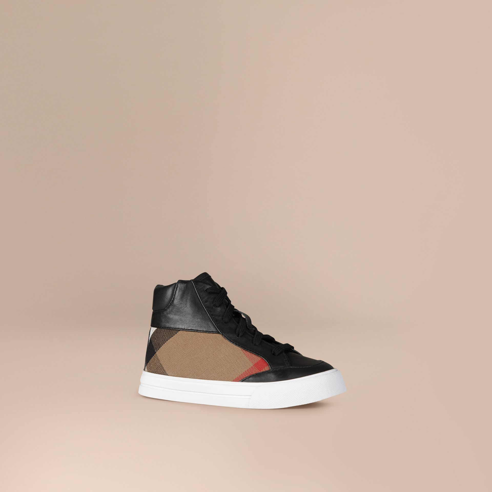 House Check and Leather High Top Trainers | Burberry - gallery image 1