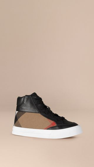 House Check and Leather High Top Trainers