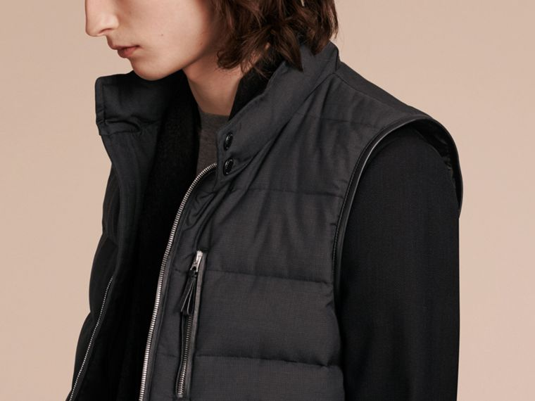 Charcoal Lambskin Trim Down-filled Silk Wool Gilet - cell image 4