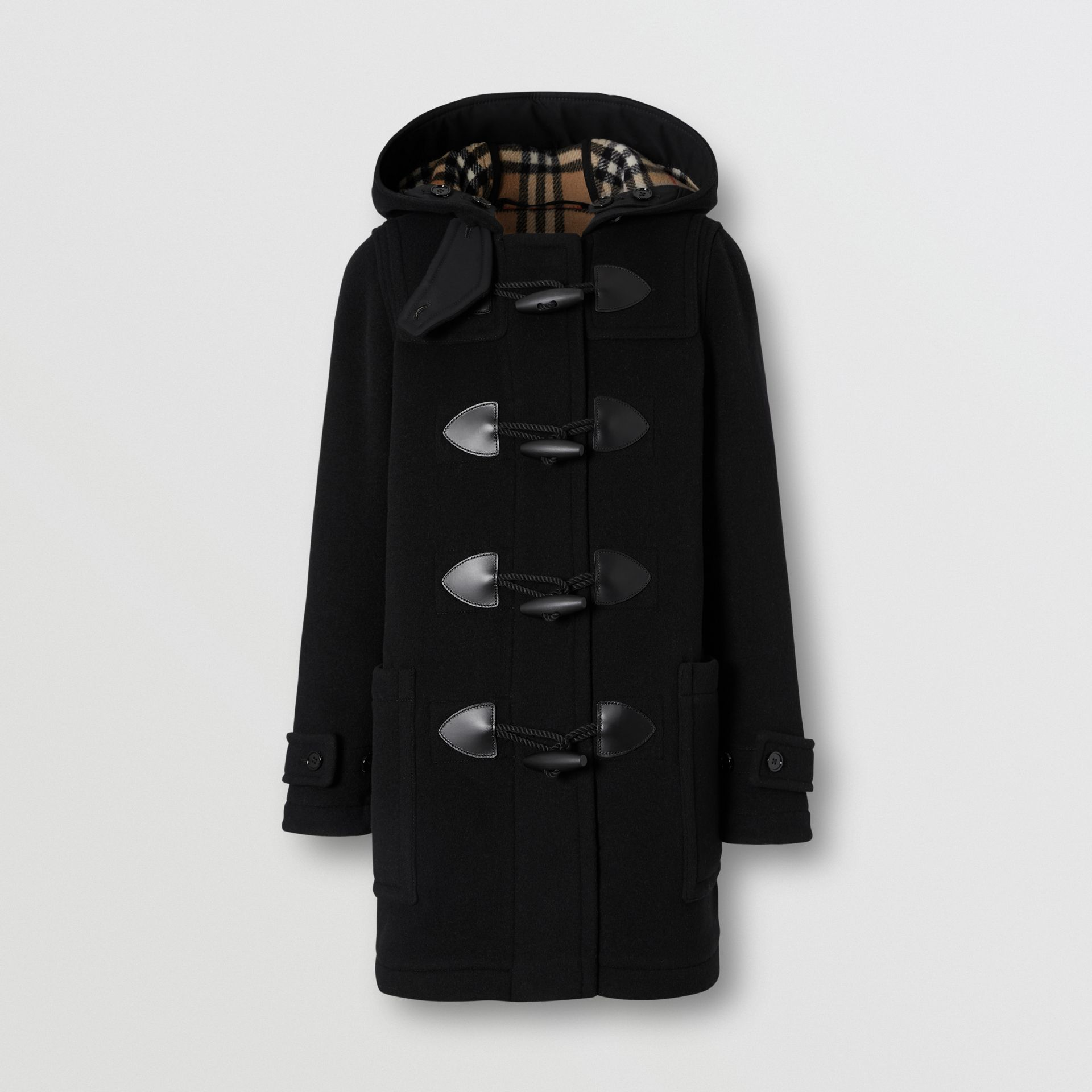 Wool Cashmere Blend Duffle Coat in Black - Women | Burberry - gallery image 3