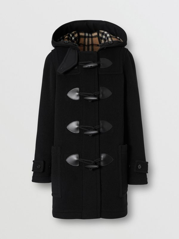 Wool Cashmere Blend Duffle Coat in Black - Women | Burberry - cell image 3