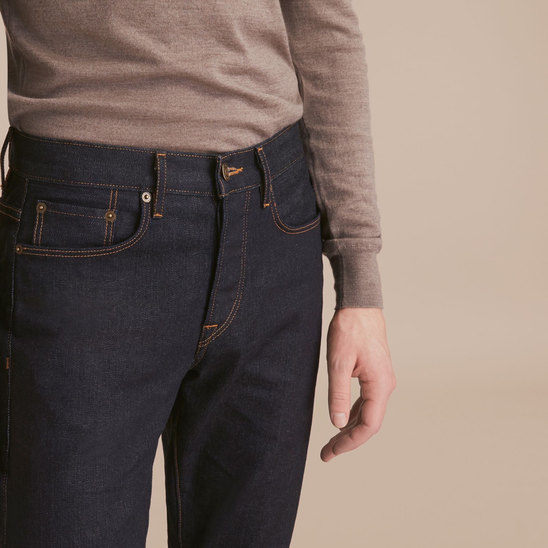 Relaxed Fit Comfort Stretch Indigo Japanese Denim Jeans in Dark - Men | Burberry - gallery image 4