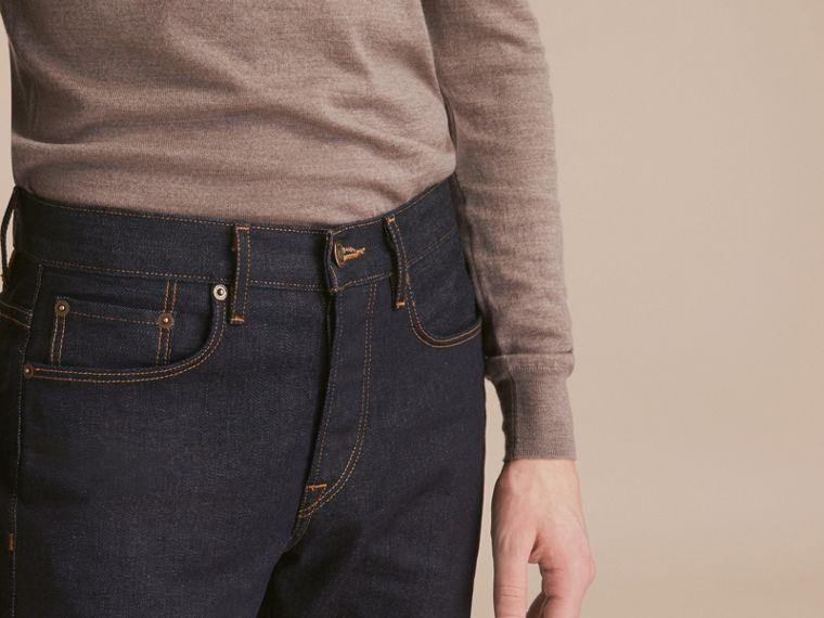 Relaxed Fit Comfort Stretch Indigo Japanese Denim Jeans in Dark - Men | Burberry - cell image 4