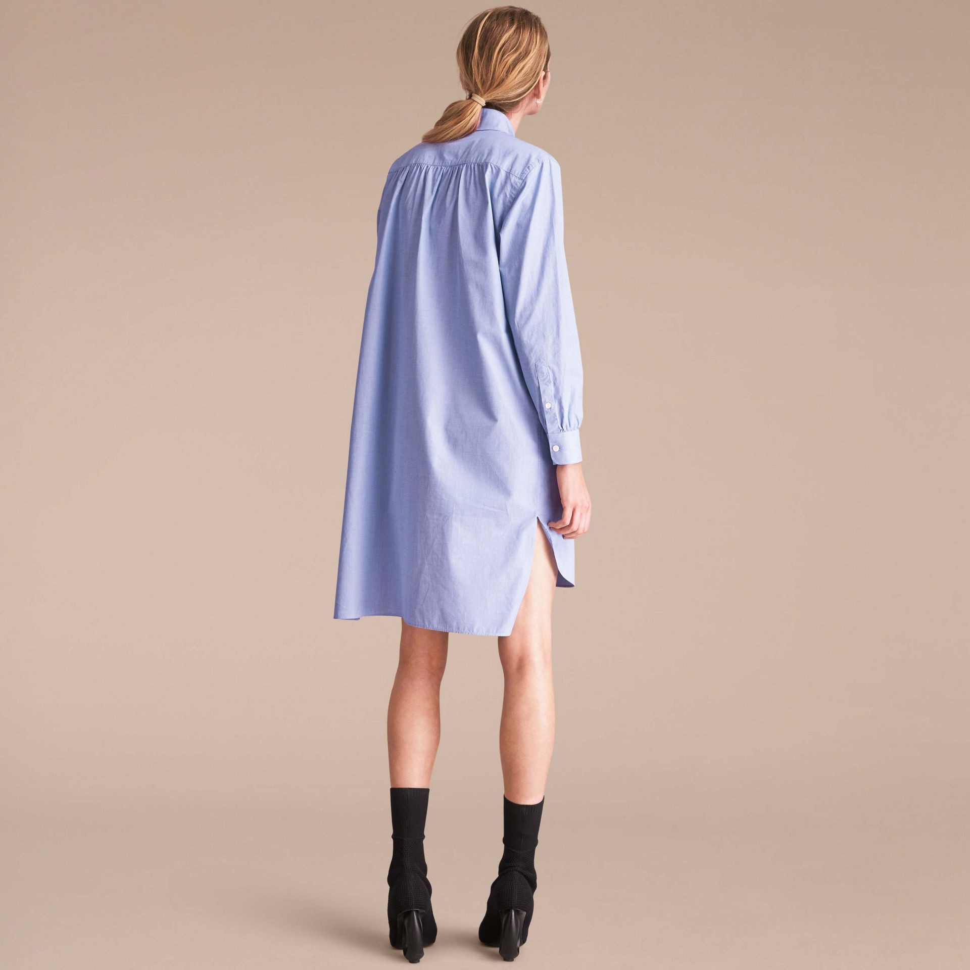 Cotton Chambray Tunic Shirt Dress - gallery image 3