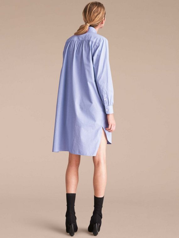 Cotton Chambray Tunic Shirt Dress - cell image 2