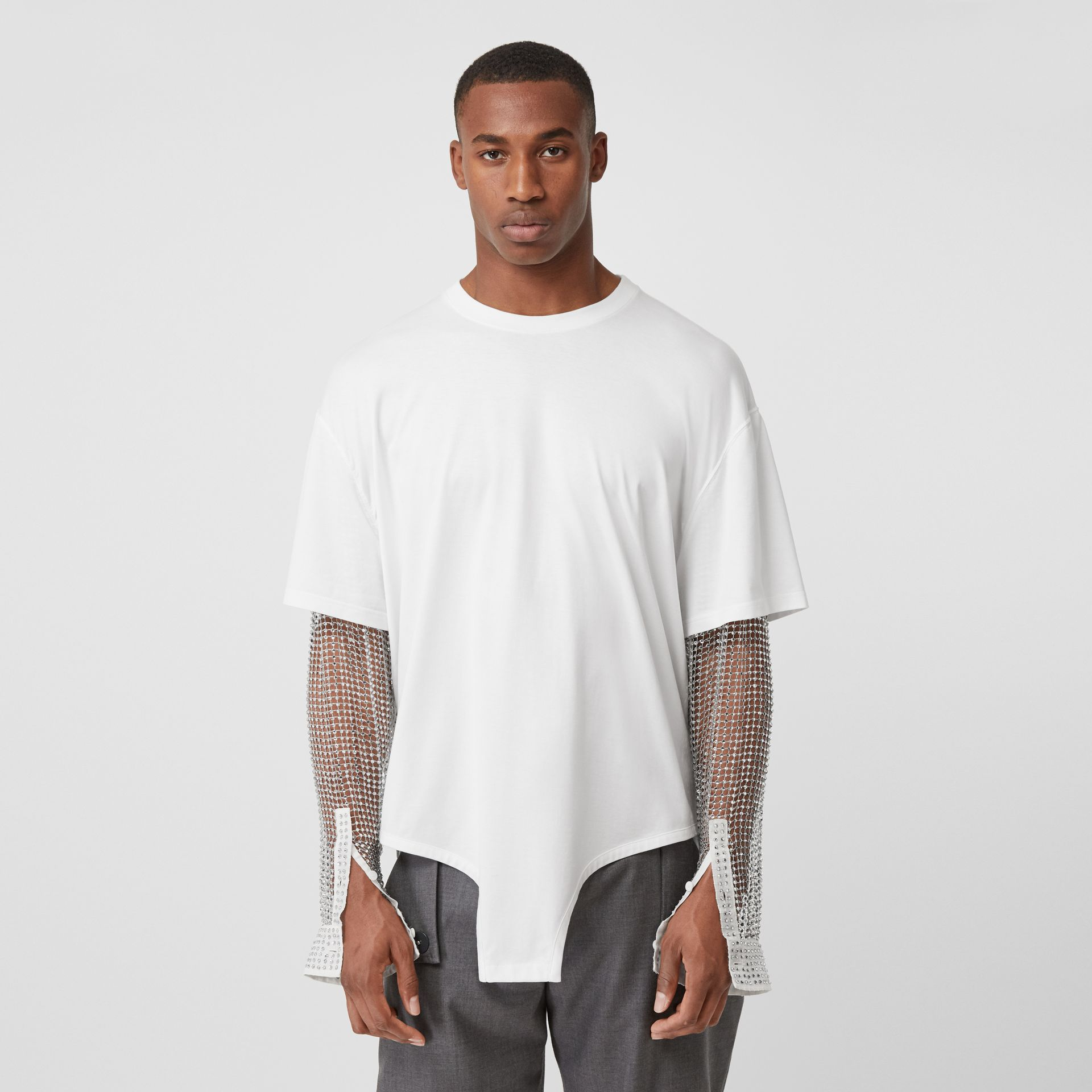Crystal Sleeve Cut-out Hem Cotton Oversized T-shirt in Optic White | Burberry Canada - gallery image 6